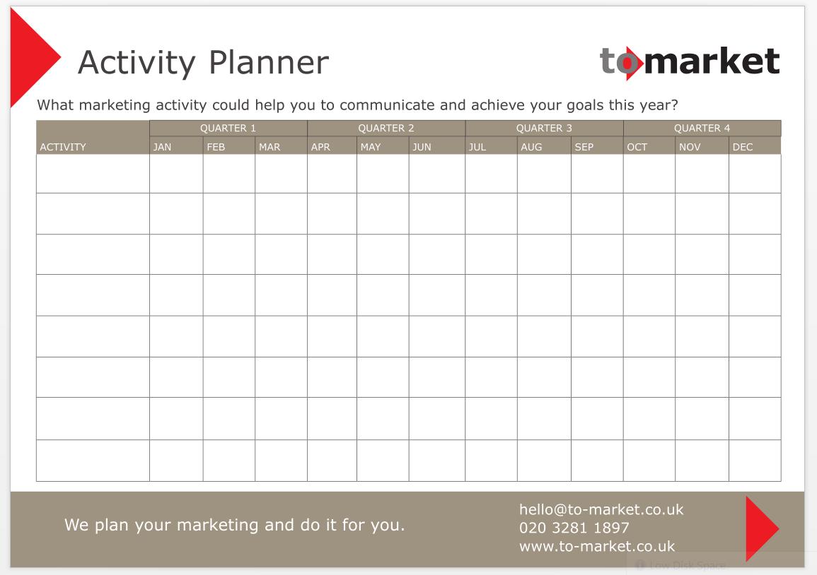 Free Marketing Planner